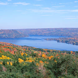 Lake surrounded by hills, Keuka Lake, Finger Lakes, New York State, USA