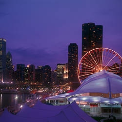 Ferris wheel on a pier with skyscrapers in the background, Navy Pier, Chicago, Illinois, USA
