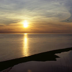 Sunset over the sea, Ebey's Landing National Historical Reserve, Whidbey Island, Island County, Washington State, USA