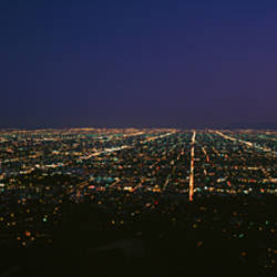 High angle view of a city at night, Griffith Park Observatory, Griffith Park, City Of Los Angeles, Los Angeles County, California, USA