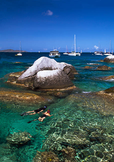 Two people snorkeling in the sea, Virgin Gorda, British Virgin Islands
