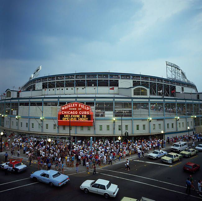 High angle view of crowd outside a baseball stadium, Wrigley Field, Chicago, Cook County, Illinois, USA