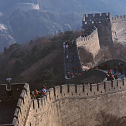 Aerial view of tourists walking on a wall, Great Wall Of China, Beijing, China