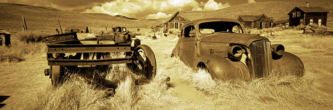 Abandoned car in a ghost town, Bodie Ghost Town, Mono County, California, USA