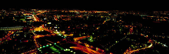High angle view of a city at night from the Custom House, Boston, Suffolk County, Massachusetts, USA