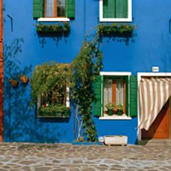 Facade of houses, Burano, Veneto, Italy