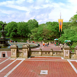 Tourists in a park, Bethesda Fountain, Central Park, Manhattan, New York City, New York State, USA