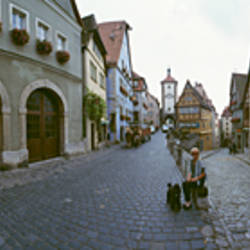 Low angle view of buildings at a town square, Plonlein, Rothenburg, Germany