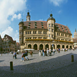 Low angle view of buildings at a town square, Rothenburg, Germany