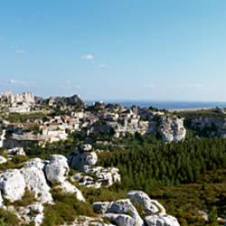 Rock formations on a landscape, Les Baux De Provence, Bouches-du-Rhone, Provence-Alpes-Cote d'Azur, France