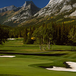 High angle view of a golf course, Mt Kidd Golf Course, Kananaskis Country Golf Course, Kananaskis Country, Calgary, Alberta, Canada