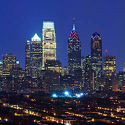 Buildings lit up at night in a city, Comcast Center, Center City, Philadelphia, Philadelphia County, Pennsylvania, USA