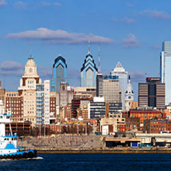 Buildings at the waterfront, Delaware River, Philadelphia, Philadelphia County, Pennsylvania, USA