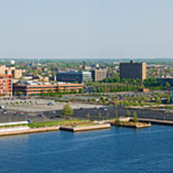 Buildings at the waterfront, Adventure Aquarium, Delaware River, Camden, Camden County, New Jersey, USA