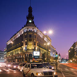 Streets lit up at dusk, Gran Via, Madrid, Spain