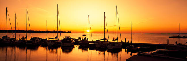 Silhouette of boats in the sea, Egg Harbor, Door County, Wisconsin, USA