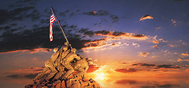 War memorial at sunrise, Iwo Jima Memorial, Rosslyn, Arlington, Arlington County, Virginia, USA
