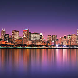 Reflection of skyscrapers in a lake, Lake Michigan, Digital Composite, Chicago, Cook County, Illinois, USA