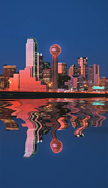 Reflection of skyscrapers in a lake, Digital Composite, Dallas, Texas, USA