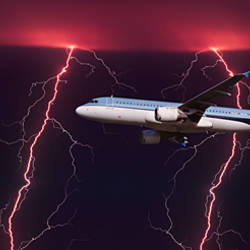 Airplane in flight through a lighting and rain storm