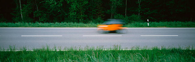 Car on the road, Baden-Wurttemberg, Germany