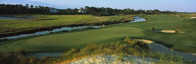 River and a golf course, Ocean Course, Kiawah Island Golf Resort, Kiawah Island, Charleston County, South Carolina, USA