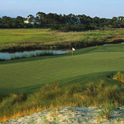 River and a golf course, Ocean Course, Kiawah Island Golf Resort, Kiawah Island, Charleston County, South Carolina, USA