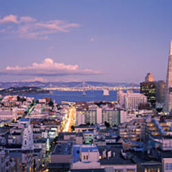 High angle view of a cityscape from Nob Hill, San Francisco, California, USA