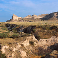 Rock formations on a landscape, Scotts Bluff National Monument, Nebraska Highway 92, Scotts Bluff County, Nebraska, USA