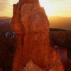 Sunrise behind a cliff, Thor's Hammer, Bryce Canyon National Park, Utah, USA
