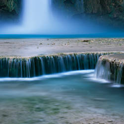 Waterfall in a forest, Mooney Falls, Havasu Canyon, Havasupai Indian Reservation, Grand Canyon National Park, Arizona, USA