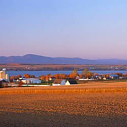 Farms near Saint-Michel-de-Bellechasse, St. Lawrence River, Quebec, Canada