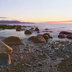 Sunset along rocky coast, Gros Morne National Park, Newfoundland, Canada