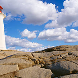 Low Angle View Of A Lighthouse, Peggy's Cove, Nova Scotia, Canada