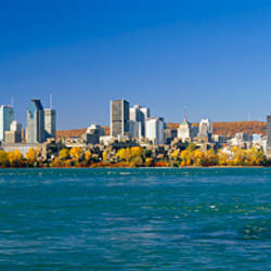 View of Montreal Skyline and the Saint Lawrence River with Mount Royal in the background, Montreal, Quebec, Canada