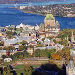 High angle view of buildings in a city, Quebec City, Quebec, Canada