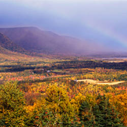 Rainbow over Cape Breton Highlands near Cape North, Nova Scotia, Canada