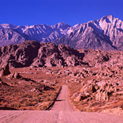 Road passing through a landscape, Mt Whitney, Alabama Hills, Inyo County, California, USA