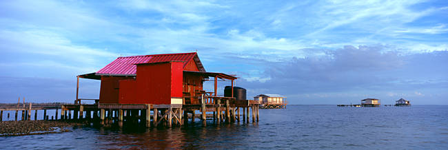 Fishing huts in the sea, Pine Island, Florida, USA