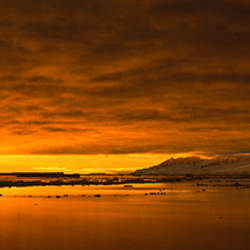 Sunrise over the sea, Antarctica