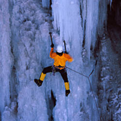 Rear view of a person ice climbing, Colorado, USA