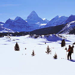 Two people skiing, Mt Assiniboine, Mt Assiniboine Provincial Park, British Columbia, Canada