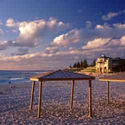 Sunshades on the beach, Indiana Tea House, Cottesloe Beach, Perth, Western Australia, Australia