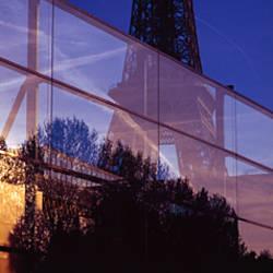 Low angle view of a tower, Musee Du Quai Branly, Eiffel Tower, Paris, Ile-de-France, France