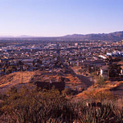 High angle view of a cityscape, El Paso, Texas, USA-Mexico Border