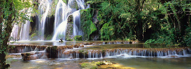 Waterfall in a forest, Cuisance Waterfall, Jura, Franche-Comte, France