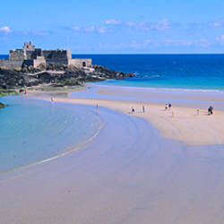 Beach with a fort in the background, St-Malo, Brittany, France