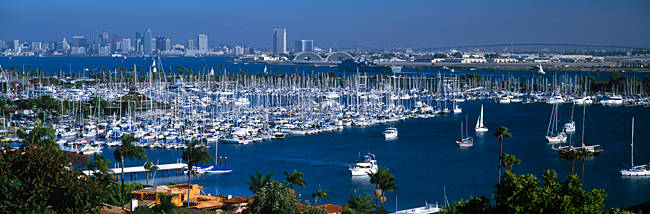 Aerial view of boats moored at a harbor, San Diego, California, USA