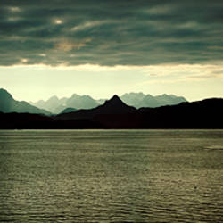 Sea with mountains viewed from a ferry, Alaskan Coast, Alaska, USA