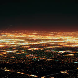 Aerial view of buildings at night in a city, Albuquerque, New Mexico, USA